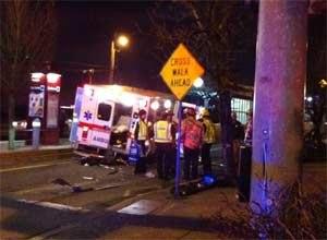 Image KPTV PortlandThe force of the crash moved the ambulance 20 feet foward
