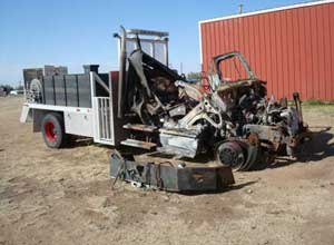 Photo NIOSHThis brush truck was abandoned by Firefighter Elias Jaquez and four others when it became stuck in sand. A recent NIOSH report recommended training apparatus drivers in conditions where they might be expected to operate, including extreme weather and off-roading.
