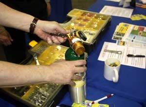 Photo Jamie ThompsonJoshua Knapp demonstrates how the oxygen wrench works.