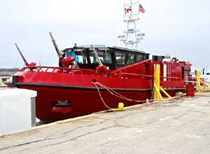 Photo courtesy of Dan JasinaChicago Fire Department's new fireboat is docked in Wheatley, Ontario.