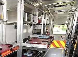 Paul W. Gillespie/The CapitalThe stretcher sections on both sides inside Annapolis County's new mass casualty Medical Ambulance Unit can be removed for drop-down seating for ambulatory patients.