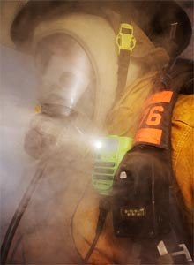 Photo Motorola Solutions, Inc.The Motorola SolutionsAPX XE RSM is seen with the emergency light activated amid smoke.