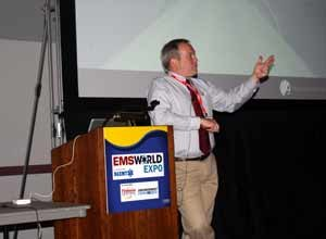 Photo Drew JohnsonMichael Dailey, the Medical Director of the Hudson Mohawk Region EMS speaks at a session at EMS World Expo in Las Vegas.