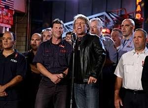 AP Photo/Craig RuttleJon Bon Jovi performes America The Beautiful at the FDNY Battalion 8, Engine 8, Ladder 2 firehouse.