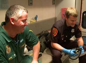 Photo Ted SetlaParamedics Mark Glencorse, left, and Justin Schorr share a laugh in an ambulance in San Francisco last Tuesday. Glencorse, who works in England, is shadowing Schorr and learning about the American EMS system after becoming friends through their blogs.