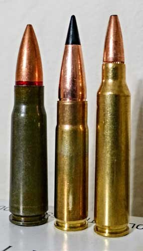 The 300BLK flanked by the Russian 7.62x39 on the left and the 223 Remington on the right.