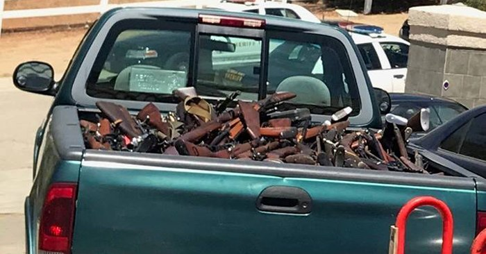 Truck filled with firearms. (Photo/Los Angeles County Sheriff's Department)