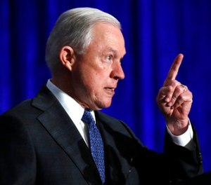 In this June 21, 2017 file photo, Attorney General Jeff Sessions speaks in Bethesda, Md. Sessions is visiting the Guantanamo Bay detention facility, which he has called a fine place to house new terrorism suspects. (AP Photo/Jacquelyn Martin, File)