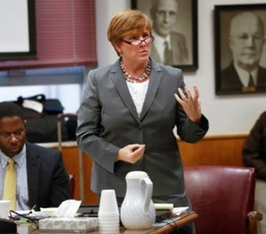Anissa Weier's attorney Maura McMahon questions potential jurors during jury selection in the trial to determine 15-year-old Weier's competency at Waukesha County Courthouse Monday, Sept 11, 2017, in Waukesha, Wis. (AP Photo/Morry Gash, Pool)