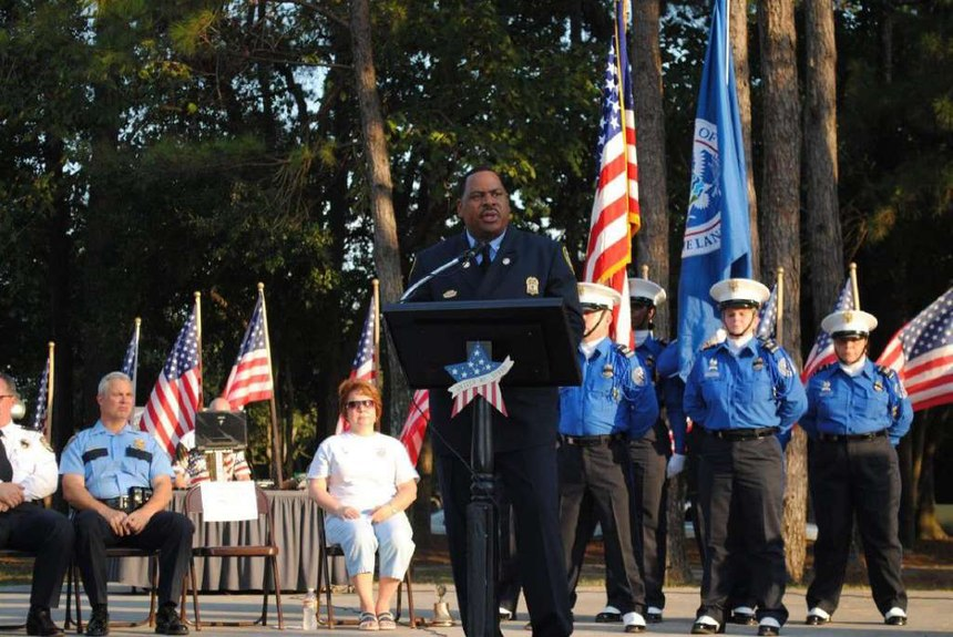 Blackmon delivering a speech at the 9/11 Rememberance Ceremony. (Courtesy photo)