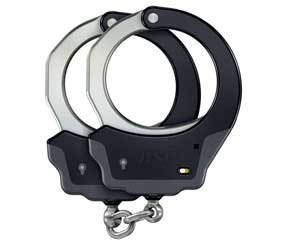 These aluminum frame handcuffs are made with either a steel or aluminum (an even lighter version) bow, which has small, flat ridges along the edge that allow for improved purchase on a subject's wrists when applying the cuffs.