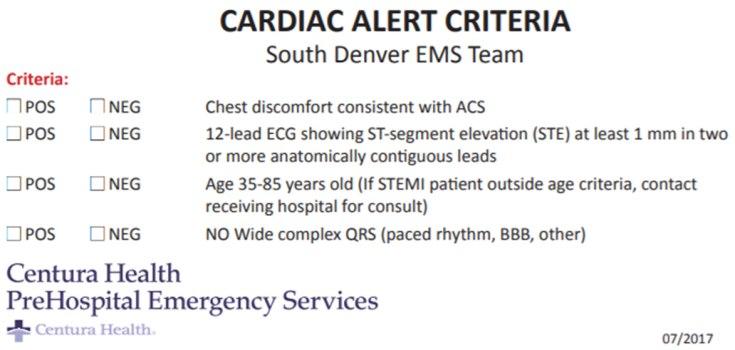 An example of a cardiac alert criteria card from South Denver EMS.