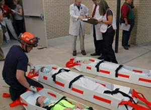 Photo Bruce GarnerResponders take part in the drill Thursday.