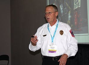 Photo Jamie ThompsonChief Richard Kline outlines concerns with firefighter culture.