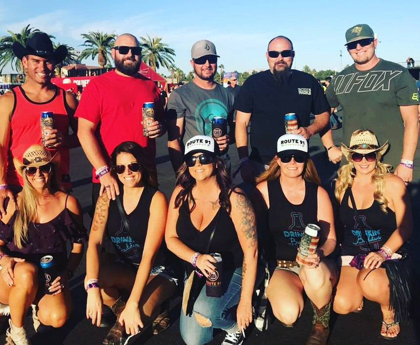 Firefighter Chris Wetzel and friends gather for a photo before the Route 91 Harvest music festival in Las Vegas in 2017.