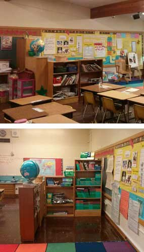 """Stan Cohen's suggestion is called """"The Cubicle of Life"""" and he has already implemented his solution in at least one school (for OpSec I'll leave it at that). The first image above is the view of 'The Cubicle of Life' as seen from the door to the classroom. In the event of a lockdown call, students might be able to put their chairs on top of the tables before moving into their hiding place, making the room look even more convincingly empty. The second image shows the hiding place itself. (Images courtesy of Stan Cohen)."""