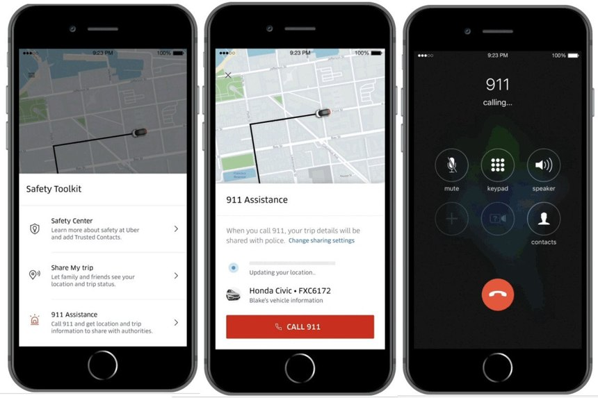 Uber's new 911 featureallows the rider to call 911 straight from the app. (Photo/Uber)