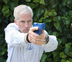 I frequently use my daily 10-minute training time to practice draws and de-escalation / re-holster techniques. I do this with my Blue Gun in my living room or in my back yard.