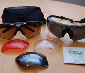 Many types of ballistic glasses come with a variety of interchangeable lenses that provide for a quick conversion from dark to clear. (Photo/PoliceOne)