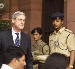 FBI Director Robert Mueller in India on March 3, 2009