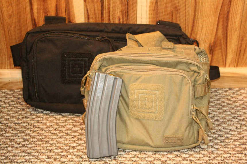 The 5.11 2-Banger and 4-Banger chest pouches, designed for either 2 or 4 M16/M4 30 round magazines, plus other incidental gear to carry you through an active shooter response.