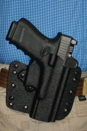 The Glock G19/Trijicon RMR combination was very comfortable for all-day wear in the DeSantis holster.
