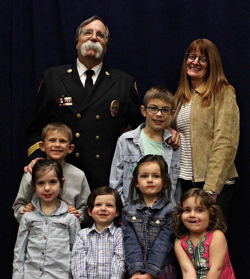 Chief Goldfeder brought his greatest accomplishment, his grandchildren, up on stage when he was honored at FDIC.