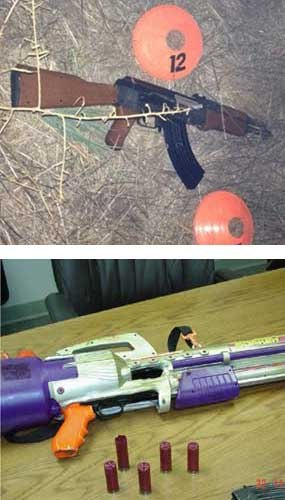 """The image above has two pictures. One's a toy gun that looks real. One's a real gun that looks like a toy. The top picture is the Airsoft """"toy"""" held by Andy Lopez. The image below is the fully-functioning 12-gauge Mossberg."""