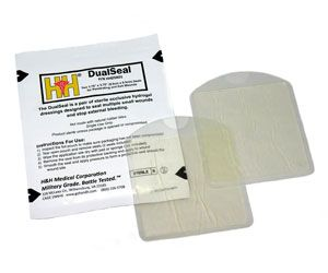 """H&H DualSeal Occlusive Dressing Pack puts the proven success of our Wound SealTM hydrogel dressing in a smaller, more convenient package. With two 3.75"""" x 3.75"""" occlusive seals, the DualSeal pack provides the ability to cover two wounds without carrying a larger pouch."""
