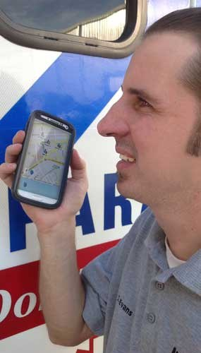 Justin Evans, the Radio System Manager at Montgomery County Hospital District in Texas, demonstrates some of the mapping capabilities of the BeOn app. (Image Courtesy of Harris)