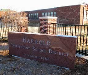 This Monday, Dec. 17, 2012 photo shows the sign in front of the Harrold Independent School District in Harrold, Texas.
