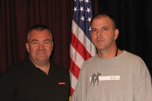 Ed Hinchey (left), Armor Technical Specialist and Law Enforcement Liaison for Safariland, pictured with Bakersfield Police Officer Dennis Eddy at a ceremony held in Eddy's honor during the Street Survival Seminar in Anaheim, Calif. in September 2008. Officer Eddy returned to full duty after he was struck by gunfire in a gang-infested neighborhood in southeast Bakersfield, Calif. Read Officer Eddy's story, Putting a name and a face on UCR stats, where he says: