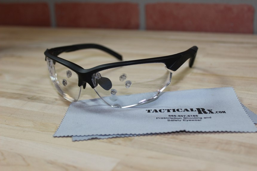 Tactical Rx offers curved prescription safety glasses. (Photo/Sean Curtis)