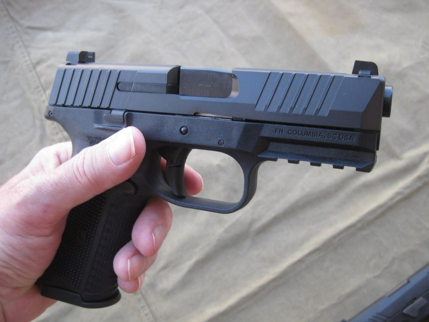 Right-side view of the FN 509. The design of the rear sight is ideally suited for one-handed operation. (Photo/Nick Jacobellis)