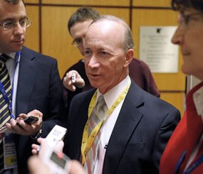 Indiana Gov. Mitch Daniels speaks with reporters during the National Governors Association winter meeting in Washington, Saturday, Feb. 25, 2012.