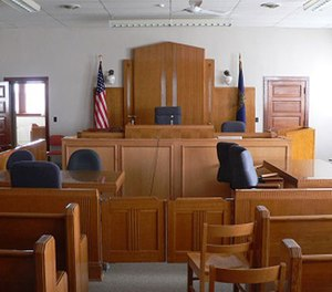Inside a courtroom.
