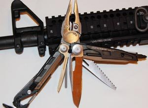 The Leatherman's many features include a M.U.T. EOD (17 tools, three-piece bit kit) model with a cap crimper, fuse wire cutters and a C4 punch.
