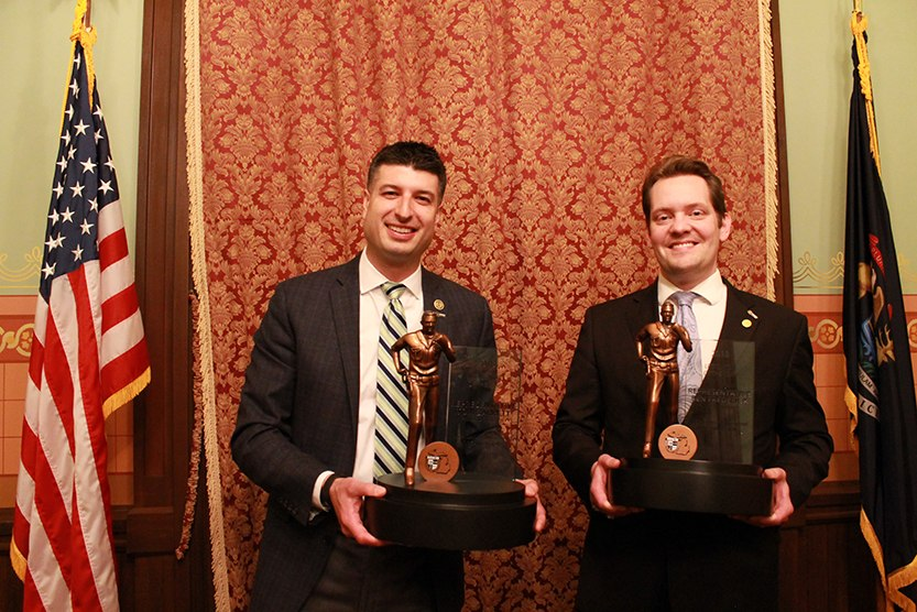 Michigan House Reps. Tom Barrett (left) and Ben Frederick are the first recipients of the MCO Legislator of the Year award.