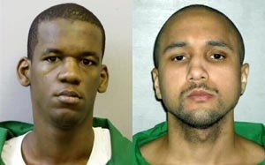 This photo shows inmates Quincy Jovan Allen (left) and Mikal Deen Mahdi (right),the two men on death row accused of attacking a South Carolina security guard. (AP Photo)
