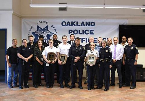 The paramedics were honored for helping Officer Hector Chavez in the aftermath of a reported car crash on June 6 in the 9800 block of Golf Links Road. (Photo/Oakland Police Officers Association)
