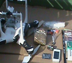 The drone used and contraband items found. (Oaklahoma Department of Corrections Image)