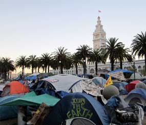 The 'Occupy' movement encampment at Justin Herman Plaza in San Francisco is small and contained across the Embarcadero from the historic Ferry Building but it is also messy and chaotic — a potentially problematic place for first responders to provide law enforcement and life saving services.