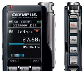 Using a handheld recorder like the Olympus DS-3500 eliminates the need for a computer alongside the person doing the dictating. It comfortably fits and can be operated by one hand. (Image Courtesy of Olympus)