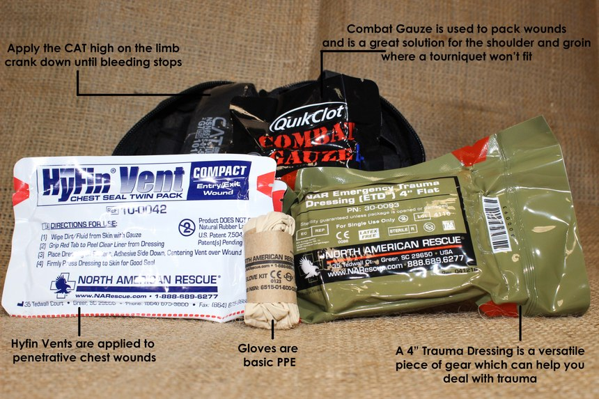 Compact medical kits are usually equipped with a chest seal, gloves, a tourniquet, combat gauze and trauma dressing.