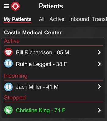 Pulsara App Version 6.1 - My Patients Tab