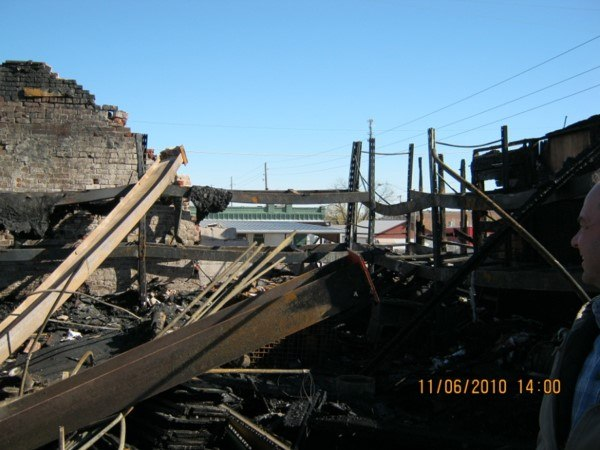 View of collapsed wall from steel I-beam expansion.