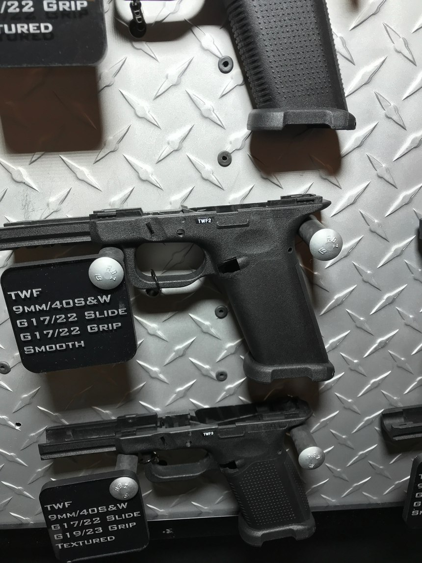 For the frame, I picked the Timberwolf TWC. The TWF (F for full sized) is pictured here. This frame has the Glock Bump relief cut and the web of the hand sits closer to the slide.