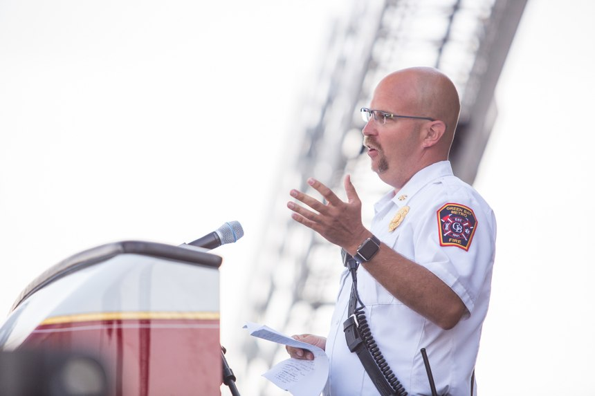 Goplin called out cancer as a top threat to firefighters during his opening remarks. (Photo courtesy of Pierce Manufacturing)