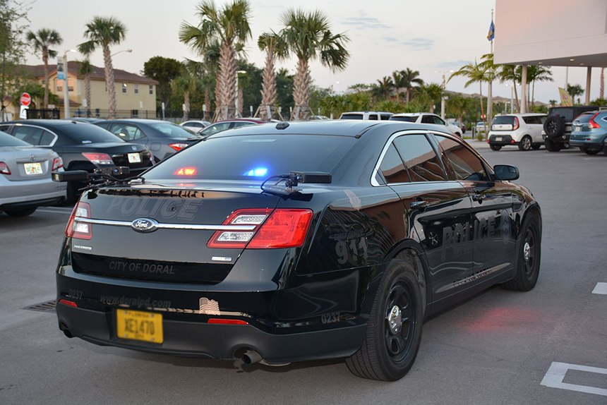 Doral PD supplements its fixed license plate reader camera installations with one mobile camera system mounted on a patrol car, but the department plans to expand the fixed camera installations to cover all points of entry into the city. (image/Doral PD)
