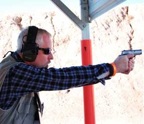 I spent a lot of time with PoliceOne Senior Editor Doug Wyllie during Media Day 2012. I snapped this picture of him shooting the Colt Mustang Pocketlite after I tested it out myself. (PoliceOne Image)